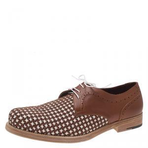 Salvatore Ferragamo Brown Woven Leather Bario Oxfords Size 43.5
