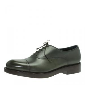 Salvatore Ferragamo Olive Leather Pride Oxfords Size 42.5