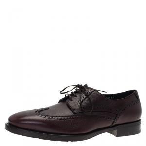 Salvatore Ferragamo Burgundy Leather Marciano Wing Tip Derby Size 43.5