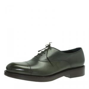 Salvatore Ferragamo Olive Leather Pride Oxfords Size 42.5