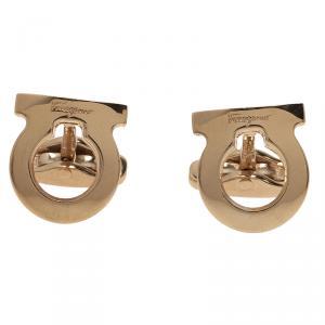 Salvatore Ferragamo Gold-Plated Steel Gancio Men's Cufflinks