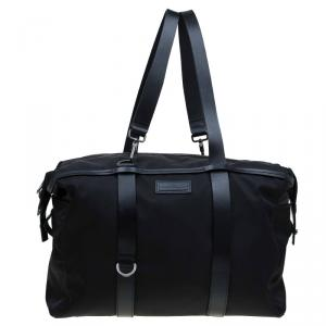 Salvatore Ferragamo Black Nylon and Leather Strap Weekender Bag