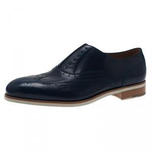Salvatore Ferragamo Navy Blue Leather Richie Laceless Brogue Slip On Size 44