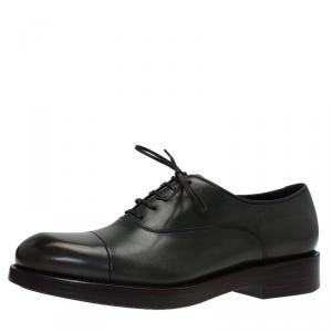 Salvatore Ferragamo Olive Leather Pride Oxfords Size 40.5