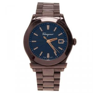 Salvatore Ferragamo Black Stainless Steel F62 Men's Wristwatch 39MM