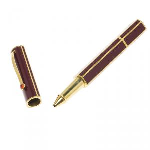 S.T. Dupont Mon Dupont Karl Lagerfeld Lotus Red Lacquer Yellow Gold Trim Rollerball Pen