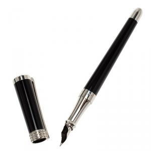 S.T. Dupont  Audrey Hepburn Limited Edition Black Lacquer Palladium Finish Fountain Pen With 14k Gold Nib M