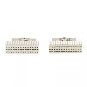 S.T. Dupont Square Diamond Head Collection Rectangular Palladium Plated Men's Cufflinks