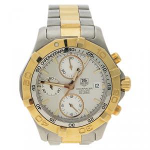 ساعة يد رجالية تاغ هيوير اكواريسر CAF2120 ستانلس ستيل ومطلي ذهب فضية 41 مم