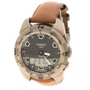 ساعة يد رجالية تيسوت تي توتش تيتانيوم سوداء 43 مم