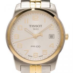 ساعة يد رجالية تيسوت PR100 ستانلس ستيل مطلي ذهب فضية اللون 38مم