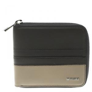 Tod's Grey/Beige Leather Zip-Around Compact Wallet