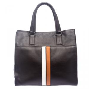Tod's Dark Brown Leather Striped Atlantico Laurent Tote