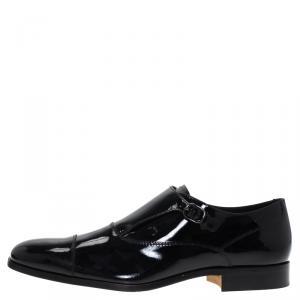 Tod's Black Patent Monk Strap Shoes Size 44