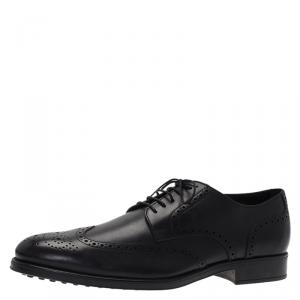 Tod's Black Brogue Leather Lace Up Oxfords Size 45