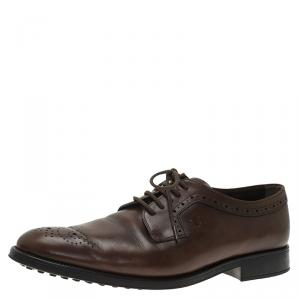 Tod's Brown Leather Brogue Lace Up Oxfords Size 43