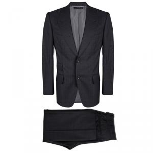 Tom Ford Grey Wool Striped Regular Fit Suit M