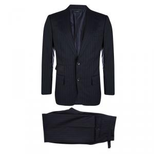 Tom Ford Navy Blue Striped Regular Fit Wool Suit M