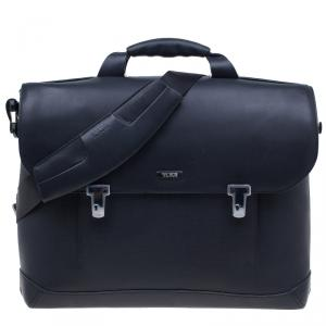 Tumi Black Leather Formula T Compartment Bag