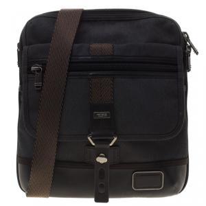 Tumi Grey/Brown Canvas and Leather Alpha Bravo Annapolis Messenger Bag