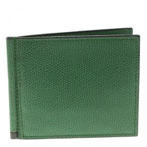 Valextra Green Leather Money Clip BiFold Wallet