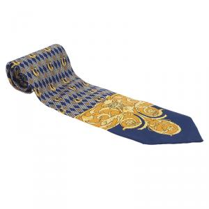 Gianni Versace Blue and Yellow Printed Silk Tie