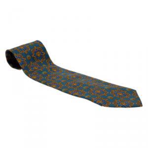 Gianni Versace Blue Silk Medusa Tie
