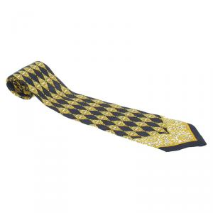 Gianni Versace Black and Yellow Printed Tie