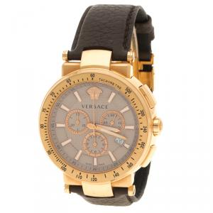Versace Grey Gold Plated Stainless Steel Chronograph Watch 46 mm