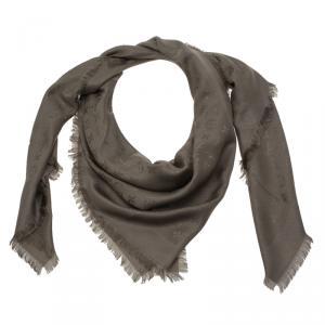Louis Vuitton Grey Monogram Silk and Wool Shawl