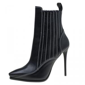 McQ by Alexander McQueen Black Leather Lex Chelsea Ankle Boots Size 39