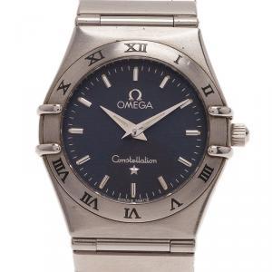 Omega Black Stainless Steel Constellation Women's Wristwatch 22MM