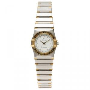 Omega White Stainless Steel Constellation Women's Wristwatch 24 MM