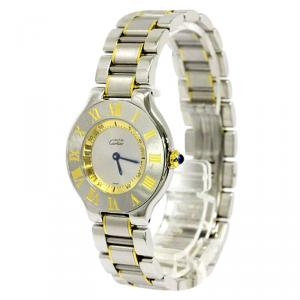 Cartier Silver Gold Plated and Stainless Steel Must Unisex Wristwatch 31MM