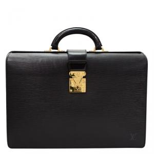 Louis Vuitton Black Epi Leather Serviette Fermoir Briefcase