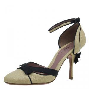 Azzedine Alaia Beige Raffia Bow Detail D'Orsay Ankle Strap Pumps Size 38.5