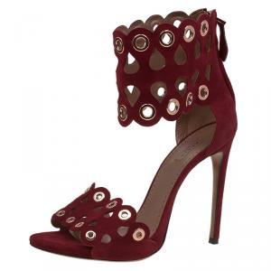 Alaia Burgundy Suede Laser Cut Eyelet Ankle Strap Sandals Size 39.5