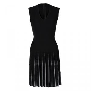 Alaia Black Knit Accordion Pleat Detail Fit and Flare Sleeveless Dress M