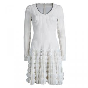 Alaia Cream Knit Textured Surface Detail Long Sleeve Dress M