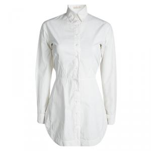 Alaia White Cotton Belted Shirt Dress S
