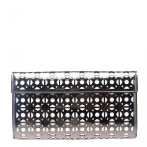 Alaia Metallic Grey Laser Cut Patent Leather Clutch