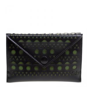 Alaia Black/Green Laser Cut Leather Mini Double Envelope Clutch