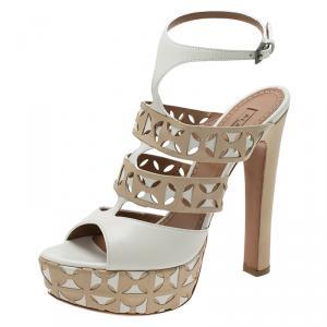 Azzedine Alaia Cream Cut Out Ankle Strap Platform Sandals Size 38