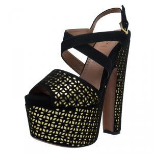 Azzedine Alaia Black and Metallic Gold Suede Cutout Platform Sandals Size 38