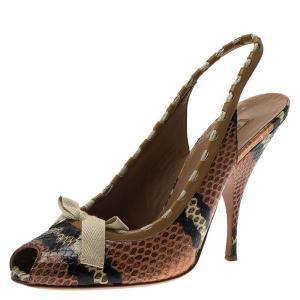 Alaia Brown Python Bow Detail Slingback Sandals Size 39