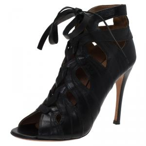 Alaia Black Leather Cutout Lace Up Ankle Boots Size 38.5