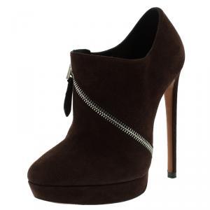 Alaia Mocha Brown Suede Platform Ankle Boots Size 36