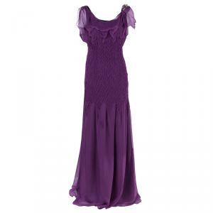 Alberta Ferretti Purple Embellished Chiffon Maxi Dress M