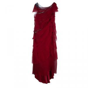 Alberta Ferretti Red Chiffon Tiered Stone Embellished Gown M