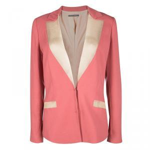 Alberta Ferretti Pink Contrast Silk Lapel Blazer M